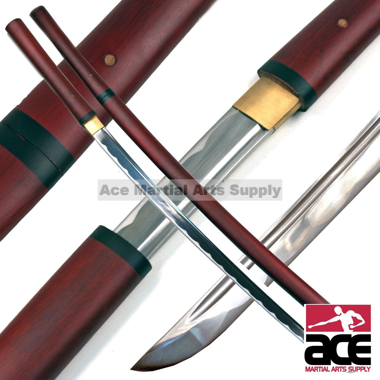 musashi handmade japanese shirasaya samurai katana sword in los both its handle and scabbard are wood construction with a dark stained finish appearing as one solid piece when sheathed the blade is secured to the